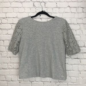 Loft Grey Lace Sleeve Pique Knit Top Small
